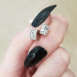 Sterling Cubic Zirconia Square Post Earrings
